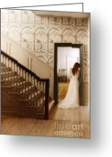 Parlor Greeting Cards - Lady Standing in a Doorway Greeting Card by Jill Battaglia