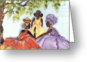 Garb Greeting Cards - Lady Talk Greeting Card by Kapal-Lou