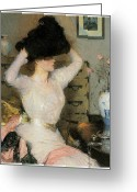 Painters Greeting Cards - Lady Trying on a Hat Greeting Card by Frank Weston Benson