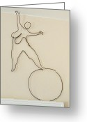 Kinetic Sculpture Greeting Cards - Lady With 1 Foot On The Ball   Greeting Card by Tommy  Urbans