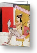 Hookah Greeting Cards - Lady with a Hawk Greeting Card by Guler School 