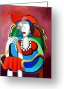 Reds Mixed Media Greeting Cards - Lady With A Red Hat Greeting Card by Anthony Falbo