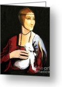 L.a. Woman Greeting Cards - Lady with an ermine  dama con ermellino Greeting Card by Patty Meotti