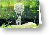 Kinetic Sculpture Greeting Cards - Lady with Ball Greeting Card by Tommy  Urbans