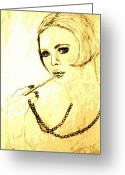 Cheek Drawings Greeting Cards - Lady with Pearl Necklace Greeting Card by Sheri Parris
