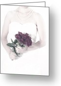 Pearl Necklace Greeting Cards - Lady With Roses Greeting Card by Joana Kruse