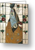 Woman Tapestries - Textiles Greeting Cards - Lady With The Rose Greeting Card by Alexandra  Sanders