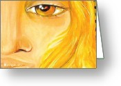Provocation Greeting Cards - Lady With Yellow Eye Greeting Card by Patty Meotti