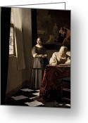 Vermeer Greeting Cards - Lady writing a letter with her Maid Greeting Card by Jan Vermeer