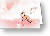 Black Point Greeting Cards - Ladybirds X Greeting Card by Mandy Tabatt