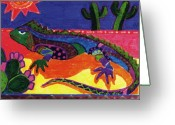 Reptiles Painting Greeting Cards - Lagarto Greeting Card by Claire Bistline