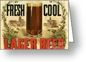 Currier Drawings Greeting Cards - Lager Beer Greeting Card by Pg Reproductions