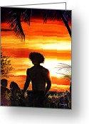 Surf Silhouette Greeting Cards - Lahaina At Dusk Greeting Card by Nanybel Salazar