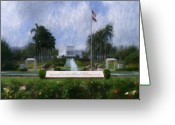 Impressionist Digital Art Greeting Cards - Laie Hawaii Temple Greeting Card by Geoffrey C Lewis