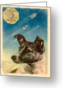 Post Card Greeting Cards - Laika The Space Dog Postcard Greeting Card by Detlev Van Ravenswaay
