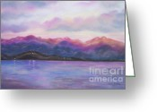Blues Pastels Greeting Cards - Lake at Dusk Greeting Card by Julie Brugh Riffey