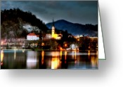 Religious Building Greeting Cards - Lake Bled. Church. Slovenia Greeting Card by Juan Carlos Ferro Duque