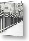 Fence Greeting Cards - Lake Bluff Illinois, Iron Fence Covered With Snow Greeting Card by Trina Dopp Photography