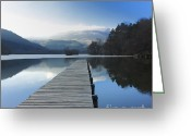 Mountain Landscape Greeting Cards - Lake Chambon. Auvergne. France Greeting Card by Bernard Jaubert
