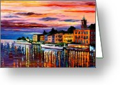 Afremov Greeting Cards - Lake Como - Bellagio  Greeting Card by Leonid Afremov