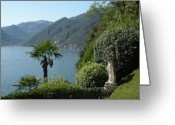 Lake Como Greeting Cards - Lake Como and Statue Greeting Card by Marilyn Dunlap