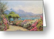 Garden Pathway Greeting Cards - Lake Como from the Villa Carlotta Greeting Card by Ernest Arthur Rowe