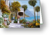 Lake Como Greeting Cards - Lake Como-la passeggiata al lago Greeting Card by Guido Borelli