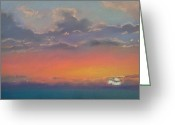 Setting Pastels Greeting Cards - Lake Erie Sunset Greeting Card by Mary Kay Geary