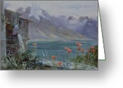 Europe Painting Greeting Cards - Lake Geneva Greeting Card by John William Inchbold