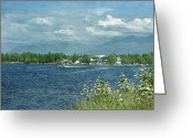 Bi Plane Greeting Cards - Lake Hood Anchorage Alaska Greeting Card by Kim Hojnacki