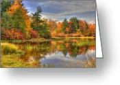 Foilage Greeting Cards - Lake Jean Greeting Card by Sharon Batdorf