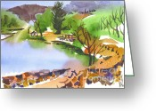 Lake With Reflections Greeting Cards - Lake Killarney with Rock Wall Greeting Card by Kip DeVore