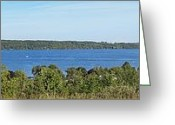 Inspiration Point Greeting Cards - Lake Leelanau Panorama Greeting Card by Twenty Two North Gallery