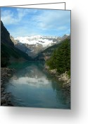 Glacier Greeting Cards - Lake Louise Greeting Card by Jim Chamberlain