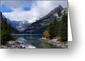 Canadian Rockies Greeting Cards - Lake Louise Greeting Card by Larry Ricker