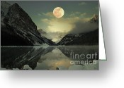 Spooky Moon Greeting Cards - Lake Louise Moon Glow Greeting Card by Andrea Hazel Ihlefeld