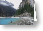Canadian Rockies Greeting Cards - Lake Louise North Shore - Canada Rockies Greeting Card by Daniel Hagerman