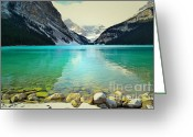 Winter Photos Greeting Cards - Lake Louise Paradise Greeting Card by Andrea Hazel Ihlefeld