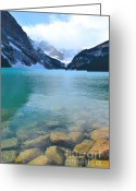 Rocky Mountain National Park Greeting Cards Greeting Cards - Lake Louise Shore Greeting Card by Andrea Hazel Ihlefeld