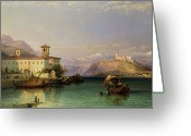 Architecture Painting Greeting Cards - Lake Maggiore Greeting Card by George Edwards Hering