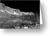 Black And White Glass Art Greeting Cards - Lake Marie and Company Greeting Card by Nena Trapp