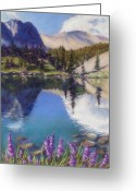 Turquoise Pastels Greeting Cards - Lake Marie Greeting Card by Zanobia Shalks