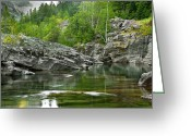 Lake Mcdonald Greeting Cards - Lake McDonald Falls River Greeting Card by Rich Franco