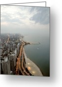 Aerial View Greeting Cards - Lake Michigan And Chicago Skyline. Greeting Card by Ixefra
