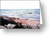 Digitalized Greeting Cards - Lake Michigan lll Greeting Card by Marsha Heiken
