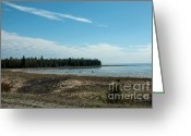 Fall River Scenes Greeting Cards - Lake Michigan Shore line from the UP Greeting Card by LeeAnn McLaneGoetz McLaneGoetzStudioLLCcom
