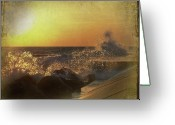 Crash Mixed Media Greeting Cards - Lake Michigan Sunset Greeting Card by Maria Dryfhout