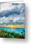Beach Grass Greeting Cards - Lake Michigan Sunset Greeting Card by Michelle Calkins