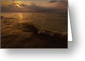 Great Lakes Photo Greeting Cards - Lake Michigan Sunset Greeting Card by Steve Gadomski