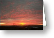 Storm Prints Photo Greeting Cards - Lake Michigan Winter Sunset Greeting Card by Johnny Yen